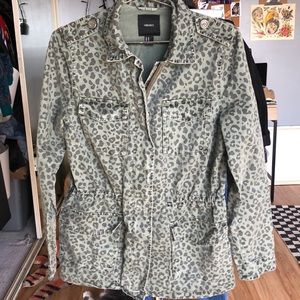 Leopard print army green jacket